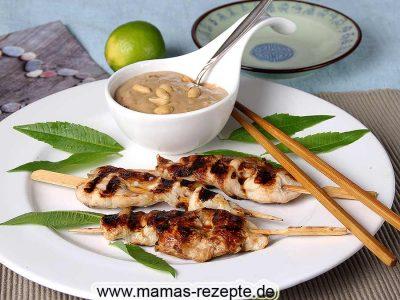 Hähnchen-Saté mit Erdnuss Sauce